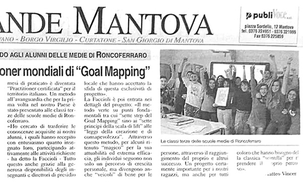 Italian newspaper article about Goal Mapping
