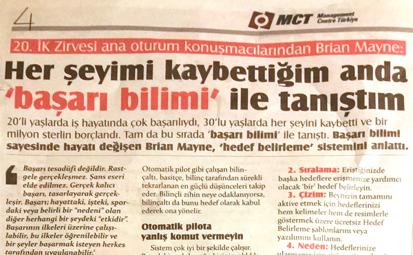 Turkish newspaper article about Goal Mapping